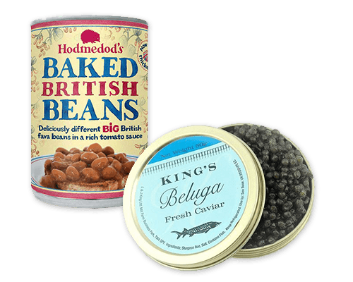 Baked beans and caviar